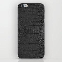 Alligator Black Leather iPhone Skin