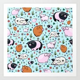 Cute Pigs Art Print