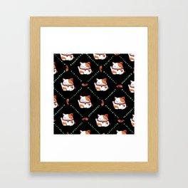 Maneki Neko Pattern Framed Art Print