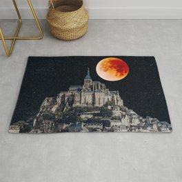 Blood Moon Over Mont-Saint-Michel Rug