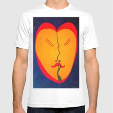 Happy Heart MEDIUM Mens Fitted Tee White