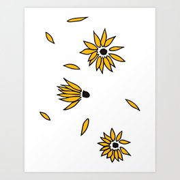Falling Yellow Flowers Art Print
