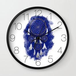 Classic Dreamcatcher: Blue background Wall Clock