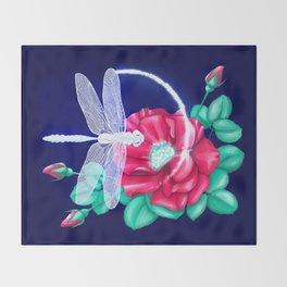 Full bloom   Dragonfly loves roses Throw Blanket