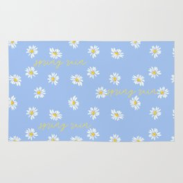 Spring rain with daisies and yellow gold typography script Rug