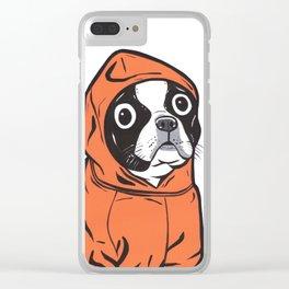 Boston Terrier Orange Hoodie Clear iPhone Case