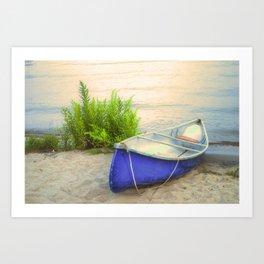 Blue Canoe Art Print