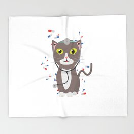 Cat with medical equipment   Throw Blanket