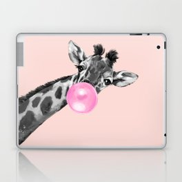 Bubble Gum Sneaky Giraffe Pink Laptop & iPad Skin