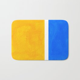 Primary Yellow Cerulean Blue Mid Century Modern Abstract Minimalist Rothko Color Field Squares Bath Mat