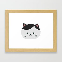 Cat with white fur and black hair Framed Art Print
