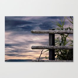wooden fence at lake Canvas Print
