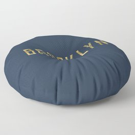 Brooklyn in Gold on Navy Floor Pillow