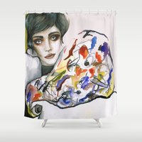 kandinsky Shower Curtains featuring Dressed in Kandinsky by Bruna Babic
