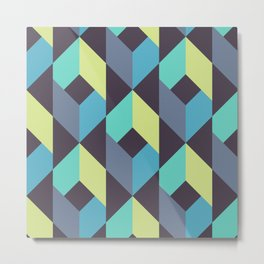 Vector Seamless Tile Pattern. Mix of Repeated Green and Blue Rhombuses Shapes Metal Print