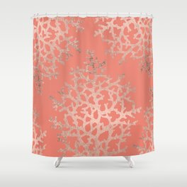 Faux rose gold coral sea hand drawn pattern salmon pattern Shower Curtain