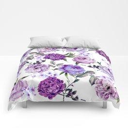 Elegant Girly Violet Lilac Purple Flowers Comforters