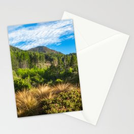 Forest and mountain range at Wilson Bay, New Zealand Stationery Cards