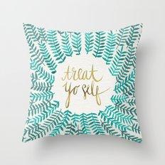 Treat Yo Self – Gold & Turquoise Throw Pillow