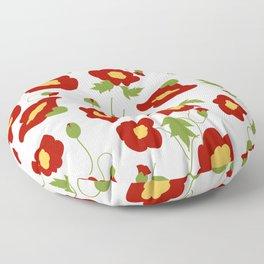 Papercut Poppies - White Floor Pillow