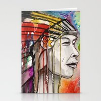 native american Stationery Cards featuring Native American by Hannah Brownfield Camacho