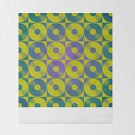 Cool vinyl records pop art pattern Throw Blanket