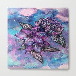 Purple Inked Flowers Metal Print