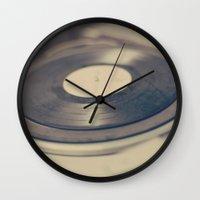vinyl Wall Clocks featuring Vinyl  by Caroline Mint
