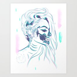 Candy Skull Mermaid Art Print