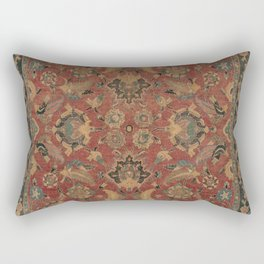 Flowery Boho Rug I // 17th Century Distressed Colorful Red Navy Blue Burlap Tan Ornate Accent Patter Rectangular Pillow