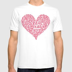Get Outta My Heart SMALL White Mens Fitted Tee