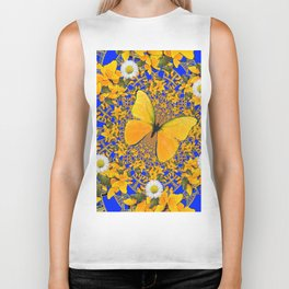 BUTTERFLY GREEN FROGS WHITE DAISIES BLUE MANDALA Biker Tank