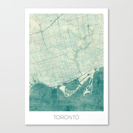Toronto Map Blue Vintage Canvas Print
