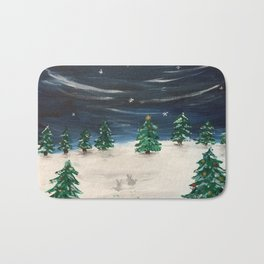 Christmas Snowy Winter Landscape Bath Mat