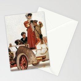 12,000pixel-500dpi - Joseph Christian Leyendecker - Lady And Car - Digital Remastered Edition Stationery Cards