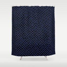Blue Triskele on Black Pattern Shower Curtain