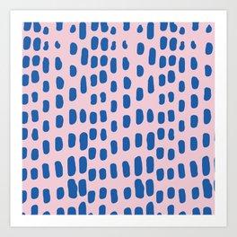 Modern trendy blue pink watercolor brushstrokes Art Print