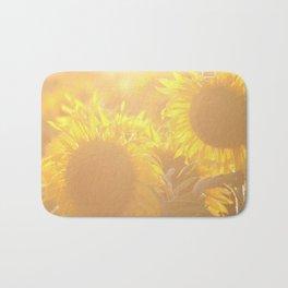 Glowing in Sunlight Sunflower Photography Bath Mat