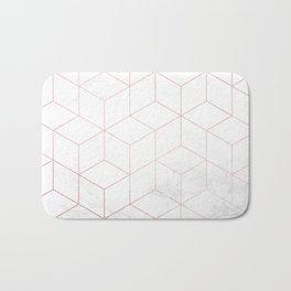 Rose Gold Geometric White Mable Cubes Bath Mat