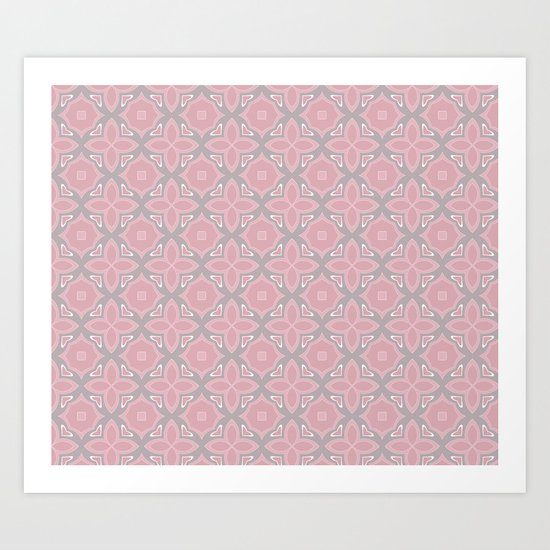 Fashionable pink and grey geometric pattern Art Print