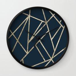 Classic Dark Blue Gold Geo #1 #geometric #decor #art #society6 Wall Clock