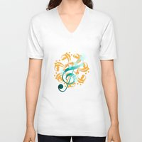 music notes V-neck T-shirts featuring Music Notes  by HK Chik