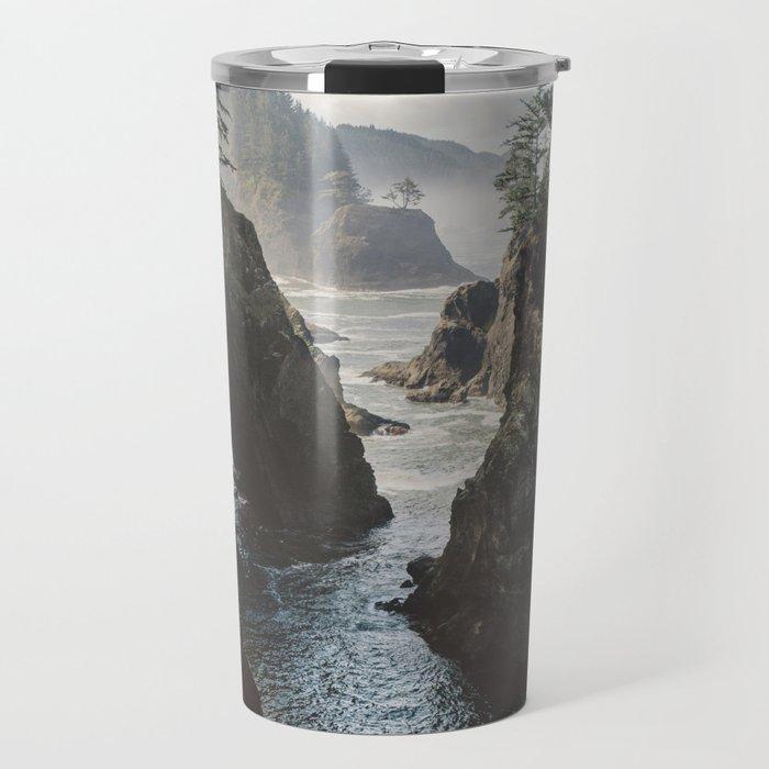 Misty Oregon Coast Travel Mug