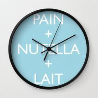 nutella Wall Clocks featuring Pain + Nutella + Lait by Sumo in the rain