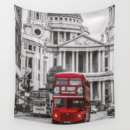 The Red London Bus Wall Tapestry