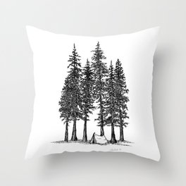 Camping with giants Throw Pillow