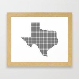 Texas State Shape: Grey Framed Art Print
