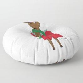 Diego the Deer in Winter Floor Pillow