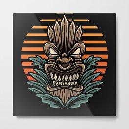 Retro Hawaii Tiki Mask I Summer Gift Outfit Metal Print