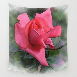 Red Rose Bud In Watercolor Wall Tapestry